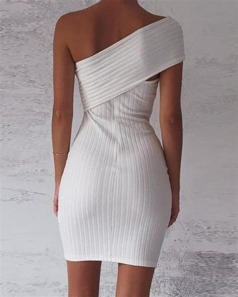 One Shoulder Fold-Over Ribbed Bodycon Dress | Ribbed ...