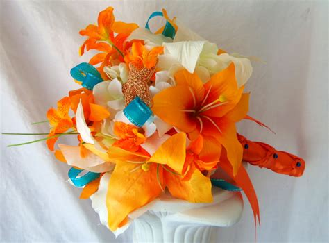 tiger lily wedding bouquet silk flower bridal bouquet