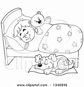 Lineart Clipart of a Cartoon Black and White Dog Sleeping ...