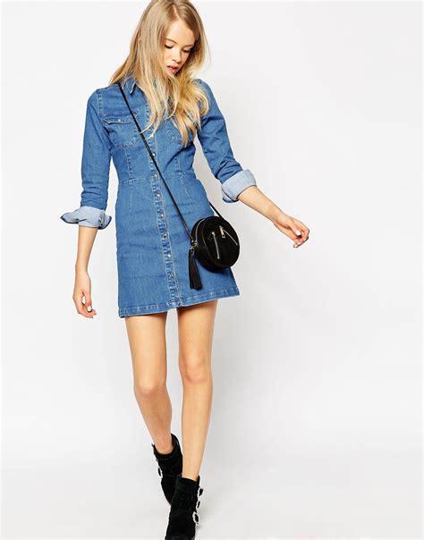 a line denim dress asos denim a line shirt dress in blue lyst