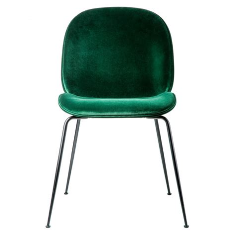 chaise velours beetle dining chair green velvet with black legs the