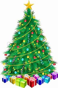 Christmas Tree And Gifts Illustration On White Background
