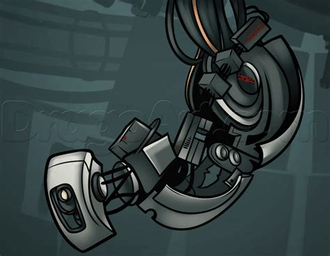 how to draw glados portal step by step video game
