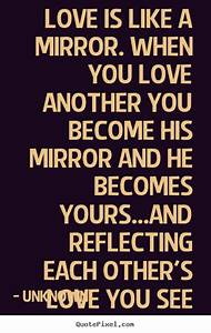 Unknown image quotes - Love is like a mirror. when you ...