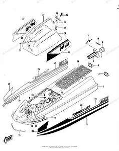 Kawasaki Jet Ski 1980 Oem Parts Diagram For Hull  Engine