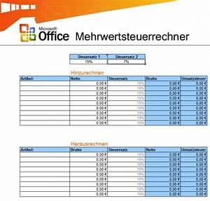 Excel Umsatzsteuer Berechnen : umsatzsteuer rechner vorlage f r microsoft excel it ~ Themetempest.com Abrechnung