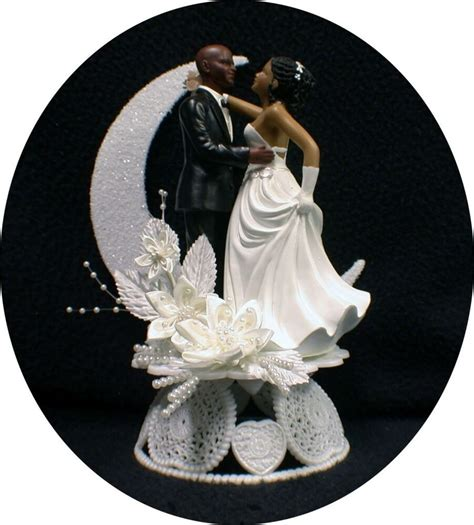 Wedding Cake Toppers by Bald Hispanic Black American Groom And