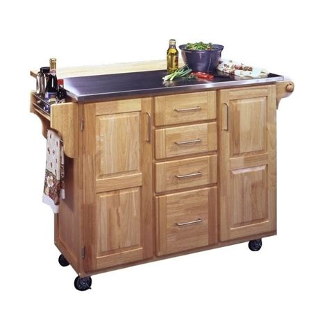 kitchen island cart with breakfast bar home styles furniture stainless steel kitchen cart with breakfast bar in natural finish