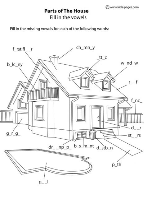 house parts   worksheet