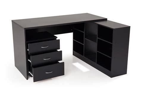 bureau angle noir bureau d 39 angle en bois avec caisson l135 5 cm presto noir