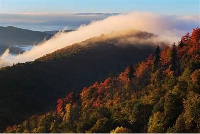 Fall Mountains North Carolina Trees Nature Clouds