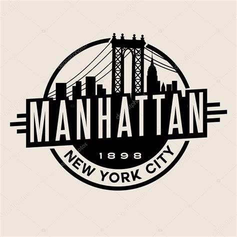 vintage t shirt sticker emblem design manhattan new york city and manhattan bridge and skyline