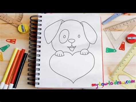 draw  cute puppy love heart easy step  step