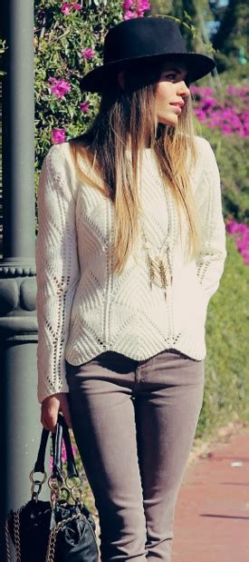 winter knit sweater scallop trimmed white knit sweater grey skinnies