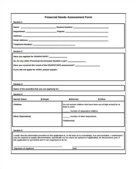 financial assessment forms   ms word excel