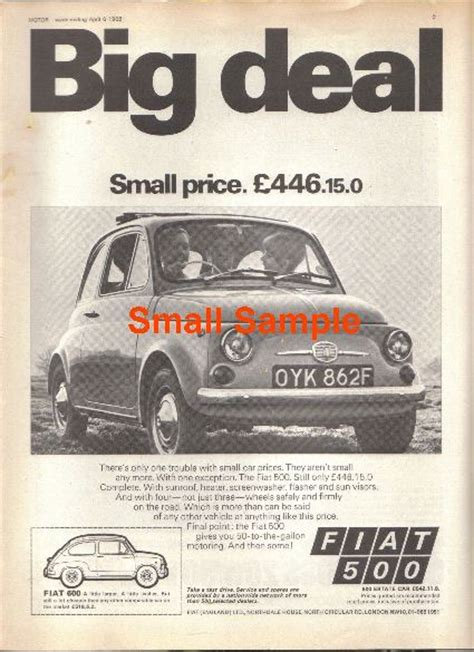 Fiat 500 Ad by Fiat 500 1968 Advert Retro Car Ad Posters The