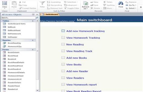 Create Resume Database Access by Access Book Reading And Homework Tracking Database