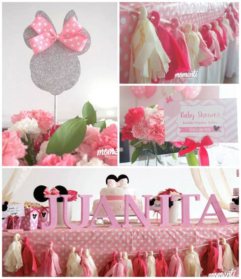 minnie mouse baby shower decorations minnie mouse baby shower via kara s ideas cake decor banners favors tutorials
