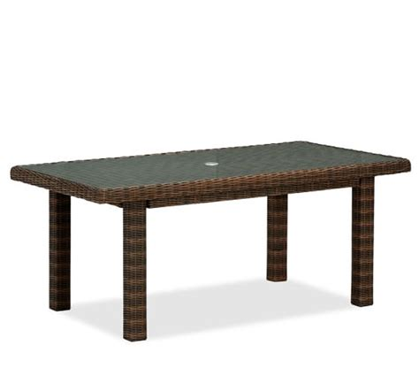 pottery barn kirkwood dining table torrey all weather wicker rectangular fixed dining table
