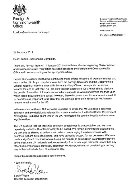 foreign office responds  letter  guantanamo bay uk