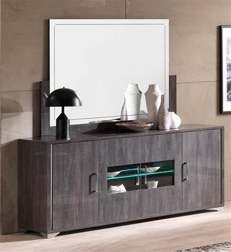 Grey Sideboard by Armony Grey 4 Door Sideboard With Led Light Modish
