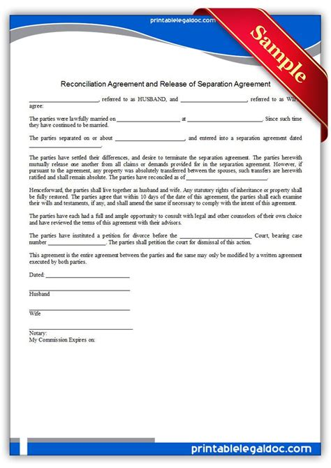 printable reconciliation agreement legal forms