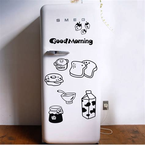 sticker porte cuisine morning breakfast combination wall decals warm family