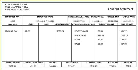 create paycheck stub template free check stub template autos post