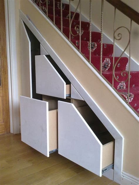 stair storage on design table