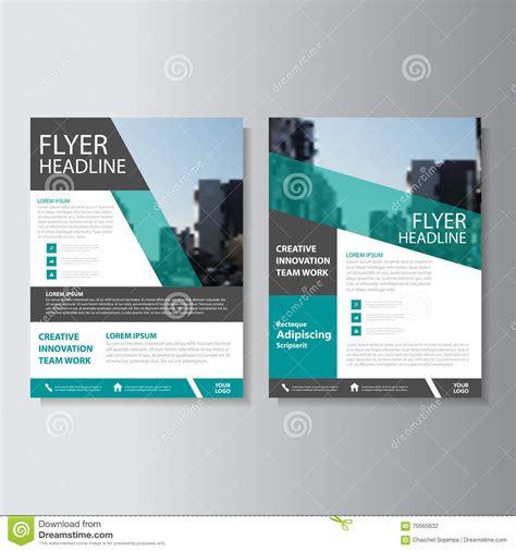 green vector annual report leaflet brochure flyer template
