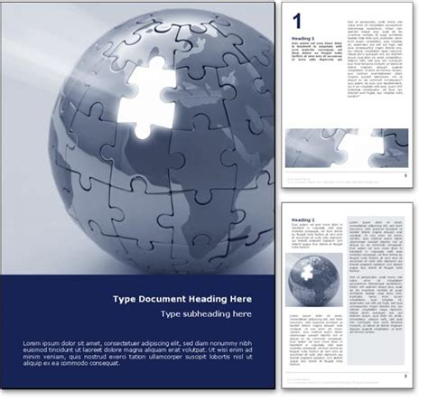 royalty  world puzzle microsoft word template  blue