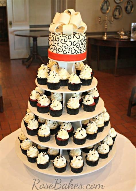 red black  white wedding cake  cupcake tower rose