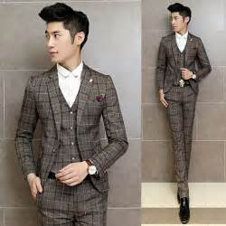 costume homme mariage 2016 vintage suits jackets mens grey plaid maillot homme 3 suits - Costume Mariage Vintage