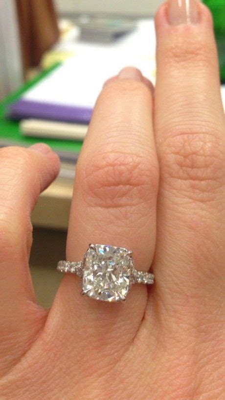 solitaire cushion cut engagement rings best 25 cushion solitaire ideas on solitaire cushion cut cushion cut and