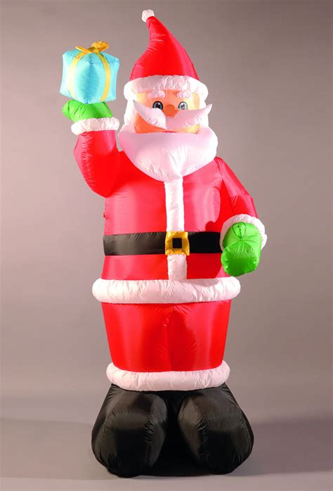 inflatable 240cm 8ft santa holding a present 163 49 99