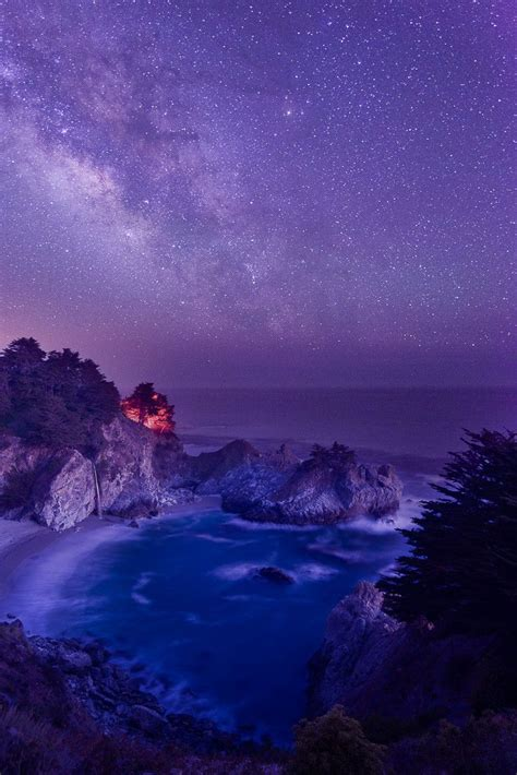 Mcway Falls Under Galaxy Big Sur California Amazing