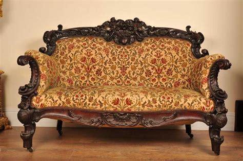 Antique Italian Walnut Sofa Chair Couch 1840