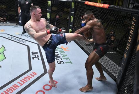 covington colby woodley ufc fight night tyron injury tyrone after event vegas getty fighter rib round domina vence fifth stops