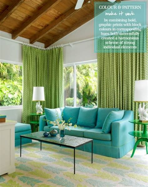 green curtains and aqua blue with beige walls style