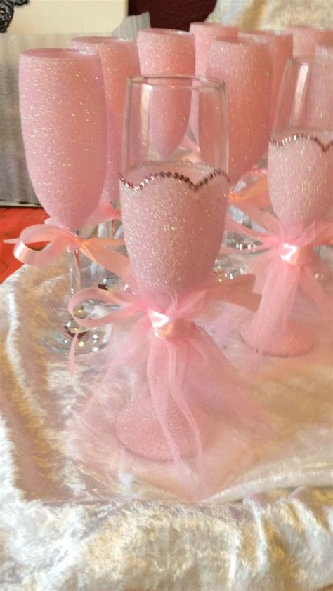 Pretty in pink. Bridesmaids   Bottle crafts, Decorated