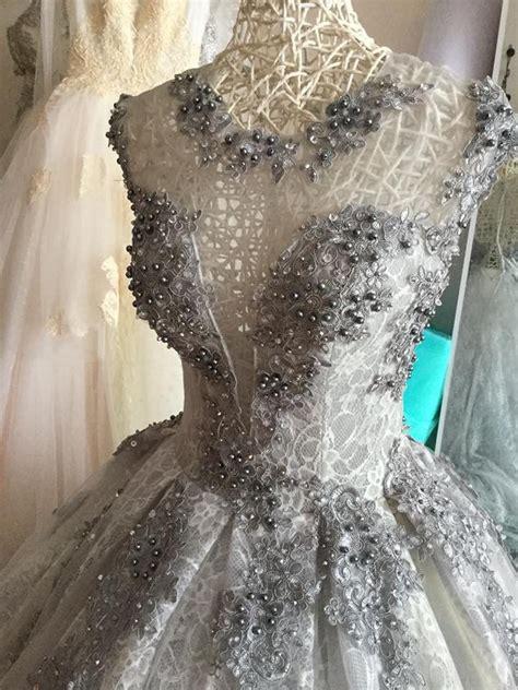 stunning grey ball gown wedding dress  black floral