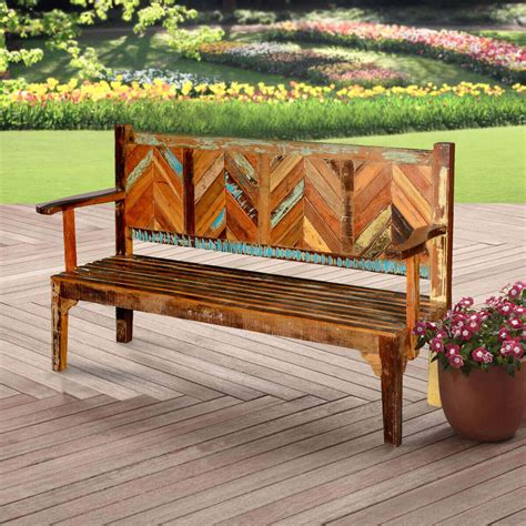 hanover rustic reclaimed wood parquet high  porch wooden bench