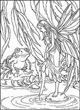 Coloring Frog Pages Pond Adult Fairy Colouring Frogs Fairies Para Colorear Angel Hadas Guardado Desde Uploaded User Angels sketch template