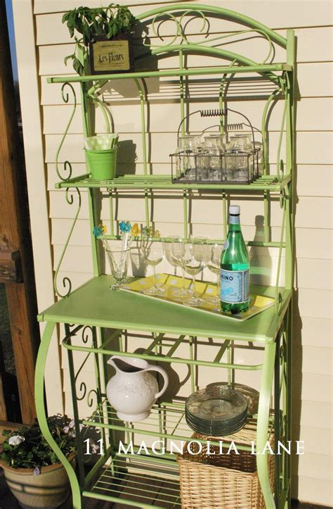 outdoor entertaining shelf from bakers rack bakers rack