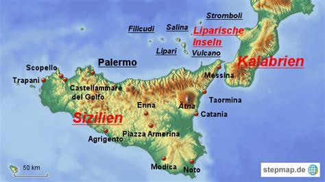 Insel Sizilien Karte