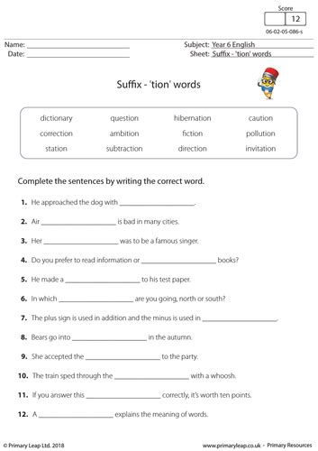 ks2 english worksheet suffix tion words by primaryleap teaching resources