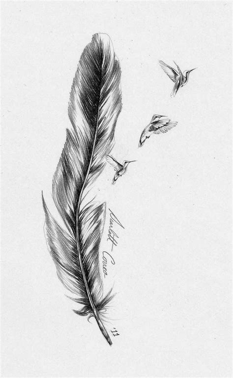 impressive birds flying  feather tattoo design
