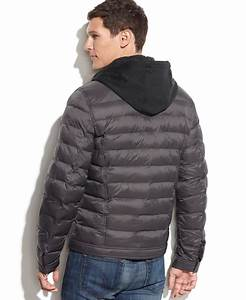 Lyst - Guess Quilted Jacket With Knit Hood in Gray for Men