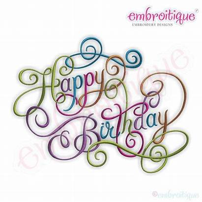 Birthday Happy Calligraphy Script Font Embroidery Designs