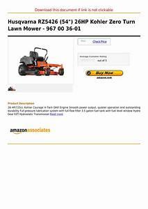 Husqvarna Rz5426  54   26hp Kohler Zero Turn Lawn Mower